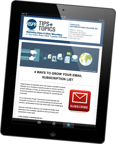 Tips & Topics bi-weekly marketing enewsletter